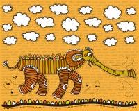 Éléphant décoratif contre le ciel jaune illustration de vecteur