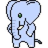 Éléphant d'art de pixel de vecteur Image libre de droits