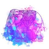 Éléphant d'Asie au-dessus de fond d'aquarelle Art de tatouage, yoga Ha illustration stock
