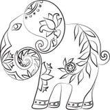 Éléphant d'Asie avec des modèles illustration de vecteur