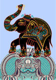 Éléphant d'Asie d'art populaire, illustration de peinture de point de vecteur Image libre de droits