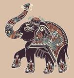 Éléphant d'Asie d'art populaire, illustration de peinture de point de vecteur Photos stock