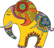 Éléphant d'Asie dans des couleurs d'arc-en-ciel illustration stock