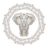 Éléphant d'Asie ethnique de vecteur en Mandala Frame Photographie stock libre de droits