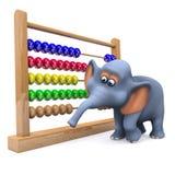 éléphant 3d avec l'abaque Image libre de droits