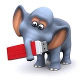 éléphant 3d avec un bâton de mémoire d'USB Photographie stock