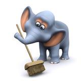 éléphant 3d balayant avec un balai Images libres de droits