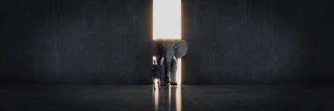 Éléphant dans la chambre près du mur Concept créateur illustration de vecteur