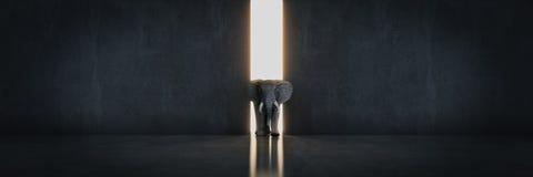 Éléphant dans la chambre près du mur Concept créateur illustration libre de droits