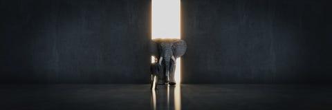 Éléphant dans la chambre près du mur Concept créateur illustration stock