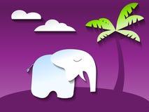 Éléphant dans la jungle ultra-violette, vecteur de papier de style d'art Photos stock