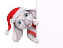 Éléphant de bande dessinée de caractère de Noël avec le rendu de l'affiche 3d Photos stock