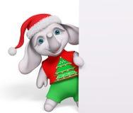 Éléphant de bande dessinée de caractère de Noël avec le rendu de l'affiche 3d Photographie stock libre de droits