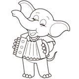 Éléphant de bande dessinée jouant un accordéon Images stock