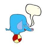 éléphant de cirque de bande dessinée avec la bulle de la parole Photos stock