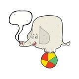 éléphant de cirque de bande dessinée avec la bulle de la parole Images stock