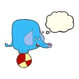éléphant de cirque de bande dessinée avec la bulle de pensée Photographie stock libre de droits