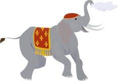 Éléphant de cirque ondulant un mouchoir d'isolement sur le blanc Photos libres de droits