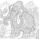 Éléphant de mammouth de Zentangle Images stock