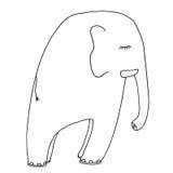 Éléphant de sommeil Dessin artistique de vecteur Obj d'isolement par graphique Images libres de droits