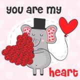Éléphant de Valentine avec le coeur des fleurs Photo stock