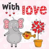Éléphant de Valentine et arbre hors des coeurs Photographie stock