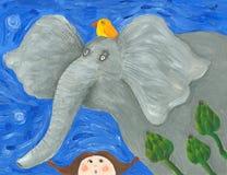 Éléphant drôle et petite fille étonnée Photos stock