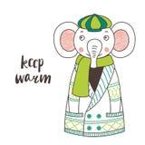 Éléphant drôle mignon dans un cardigan et un chapeau tricotés illustration stock