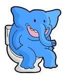 Éléphant drôle dans la toilette illustration de vecteur