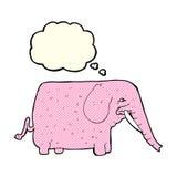 éléphant drôle de bande dessinée avec la bulle de pensée Image stock