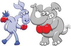 Éléphant et âne se préparant à la boxe Images libres de droits