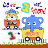 Éléphant et ours illustration de vecteur