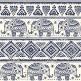 Éléphant ethnique sans couture Image stock