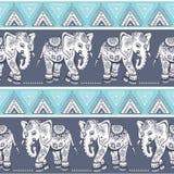 Éléphant ethnique sans couture Photographie stock
