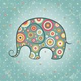 Éléphant floral de vecteur Photographie stock libre de droits