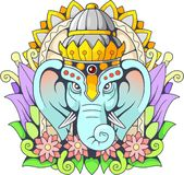 Éléphant Ganesha, illustration de Dieu Image libre de droits