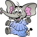 Éléphant heureux de bébé garçon dans des pyjamas Photographie stock