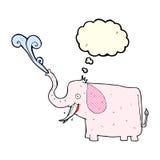 éléphant heureux de bande dessinée avec la bulle de pensée Photographie stock