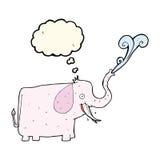 éléphant heureux de bande dessinée avec la bulle de pensée Images stock