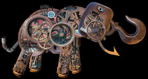 Éléphant industriel mécanique de Steampunk d'isolement photo stock