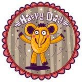 Éléphant jaune de sourire, jour heureux ! Image libre de droits