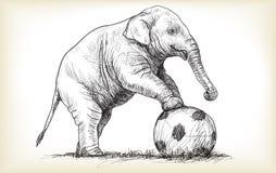 Éléphant jouant le football, illustration d'aspiration de carte blanche de croquis Photo stock