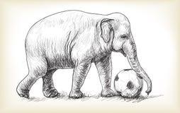 Éléphant jouant le football, illustration d'aspiration de carte blanche de croquis Photos stock