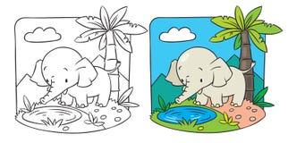 Éléphant. Livre de coloriage Photos stock
