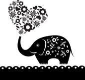 Éléphant mignon avec la carte de coeur de fleur (60) .jpg Image stock