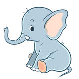 Éléphant mignon de bébé de bande dessinée Photographie stock libre de droits