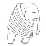 Éléphant mignon de sommeil dans pyjamas ou pull Bon tiré par la main Images libres de droits