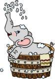 Éléphant mignon prenant un bain dans le baquet en bois illustration stock