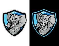 éléphant montrant à son bras la mascotte moderne d'emblème pour le logo d'esport et l'illustration de T-shirt illustration stock