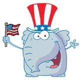 Éléphant ondulant un indicateur américain Image stock
